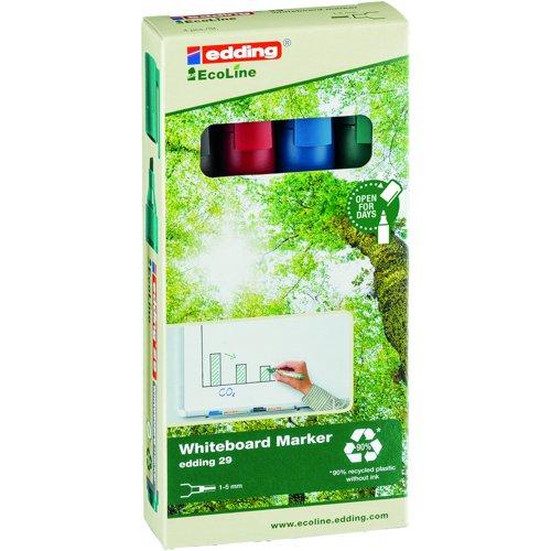edding e-29 EcoLine Whiteboard Marker Chisel Tip Assorted Colours (4) 4-29-4