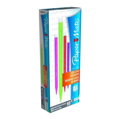Paper Mate Non-Stop Pencil Assorted Neon (12) S0187204