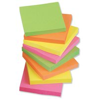 Value Repositionable Notes 76x76mm Assorted Neon