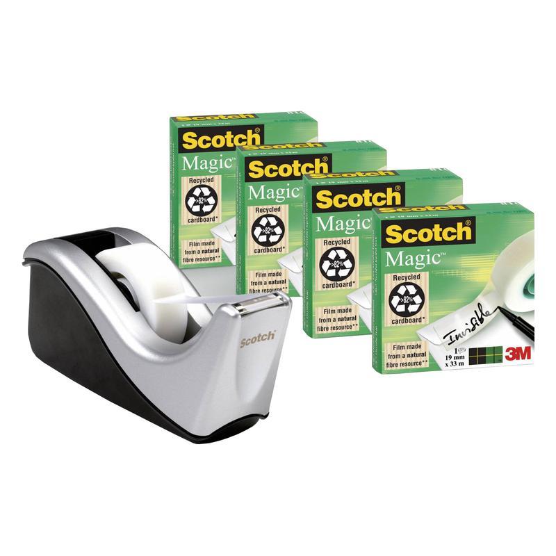 Image for 3M Scotch C60 Tape Dispenser Silver & Scotch Magic Tape (4)