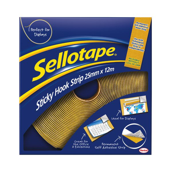 Sellotape Sticky Hook Strip 25mmx12m 1445179