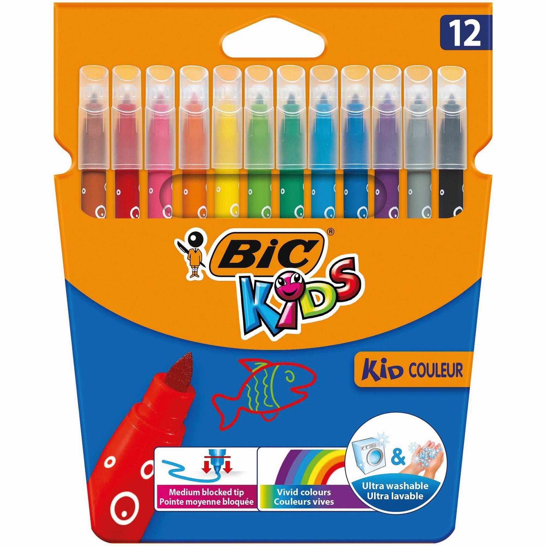 BIC KIDS Felt Tip Pens Assorted Colours (12) 9202932