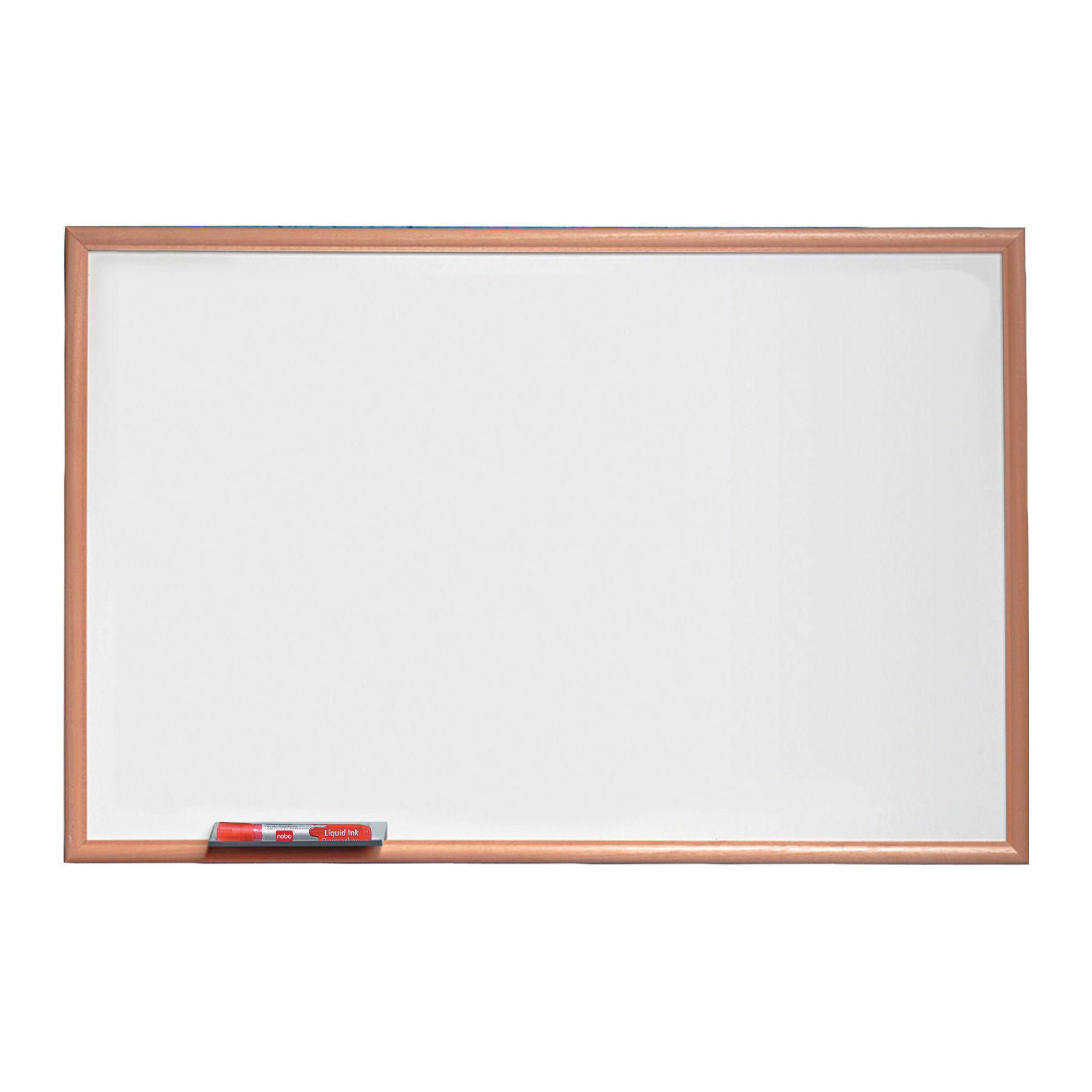 Nobo Basic Melamine Non-Magnetic Whiteboard Pine Frame 900x600mm 1905200