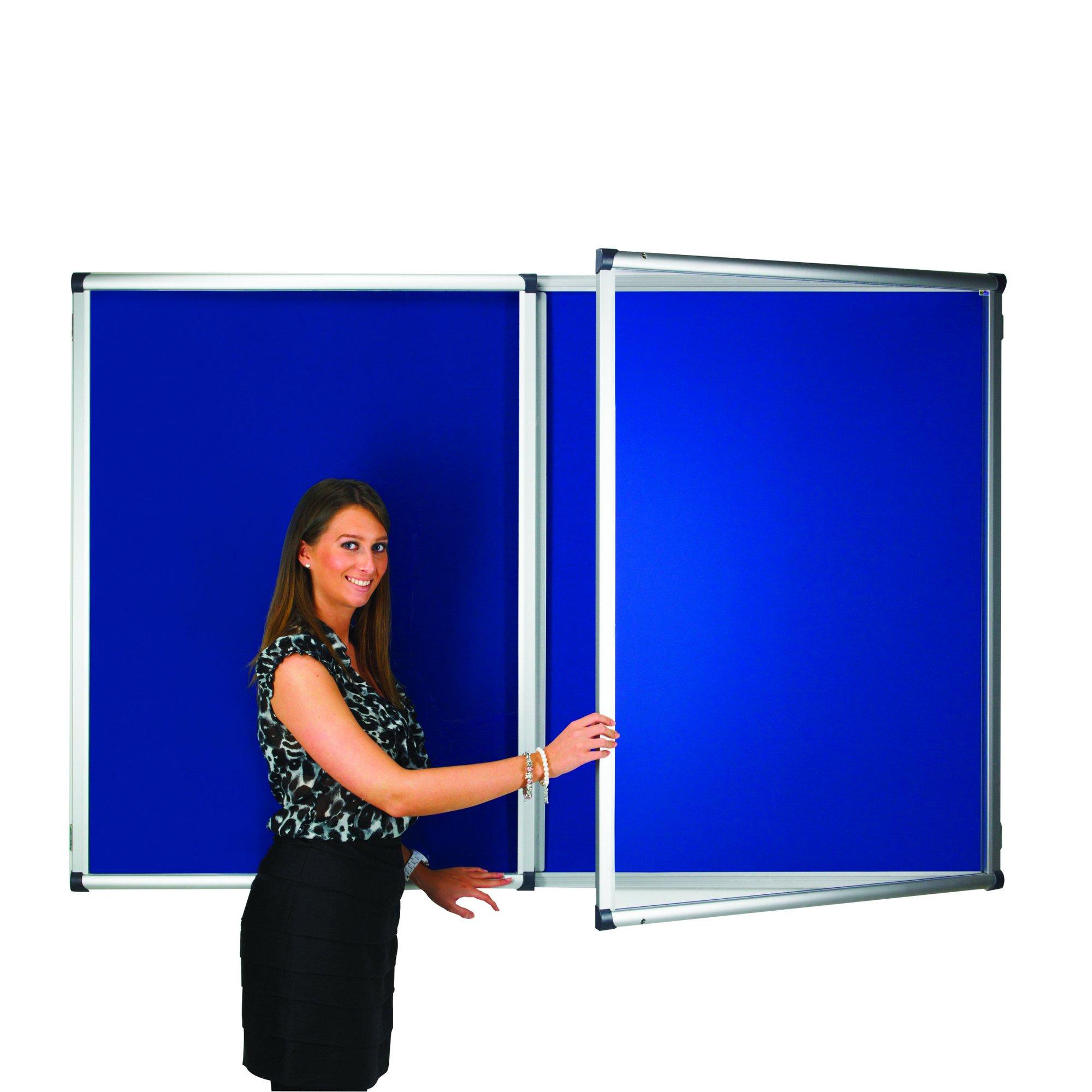Adboards Blazemaster Metropolitan Glazed Tamperproof Noticeboard 2400x1200mm Blue TMBL-2412-00