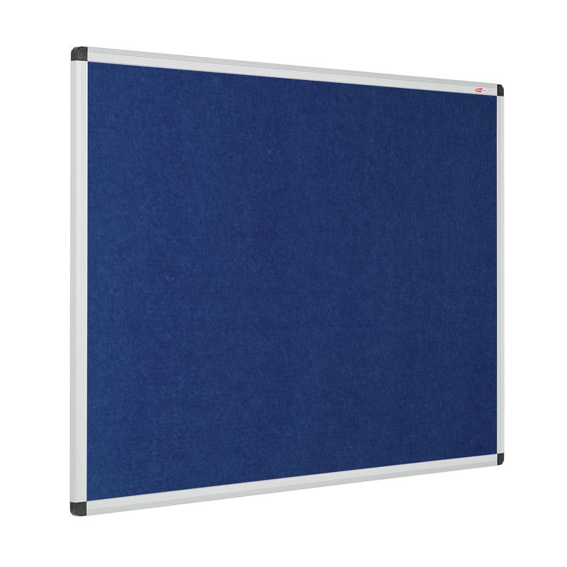 Metroplan Eco-Colour Resist-a-Flame Aluminium Framed Noticeboard 900x600mm Blue 22632/BL