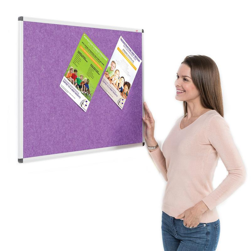 Metroplan Eco-Colour Resist-a-Flame Aluminium Framed Noticeboard 1200x900mm Purple 22643/PU