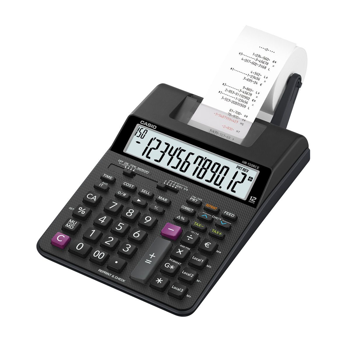 Casio Desktop Printing Calculator 12 Digit Display 2 Colour Printing 165x65x295mm Black Ref HR-150RCE