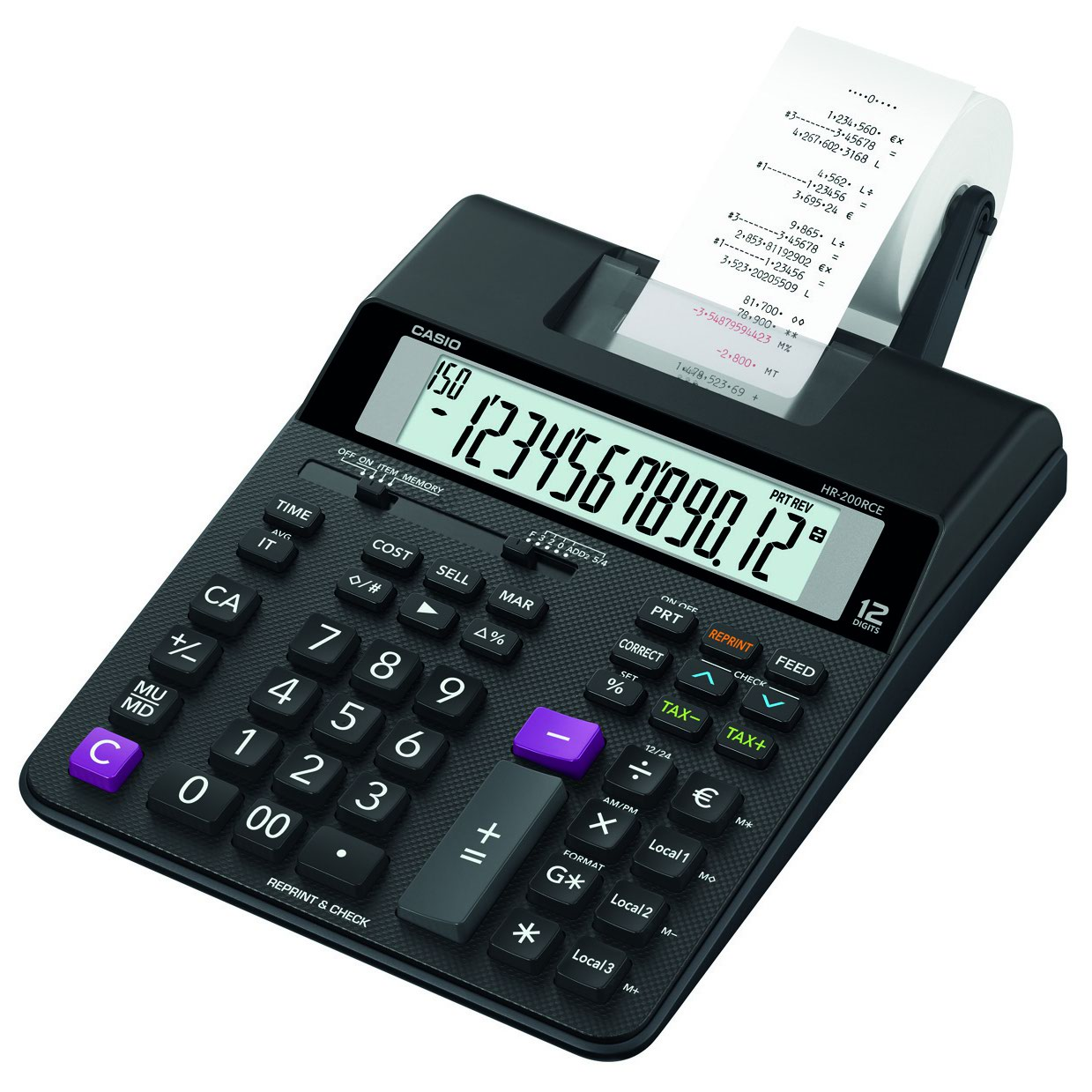 Casio HR-200RCE Printing Calculator 13 digit Display Black Ref HR-200RCE