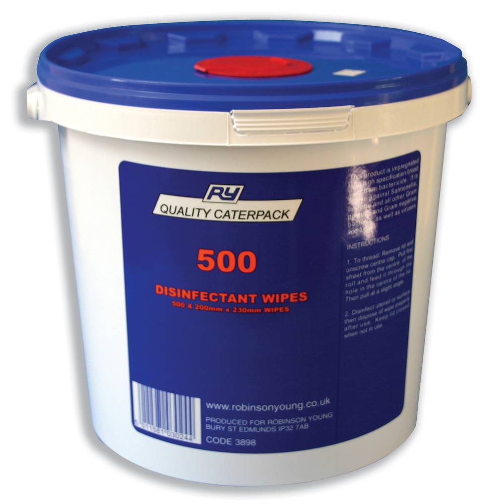 Caterpack Disinfectant Surface Wipes 200x230mm (500) 3898