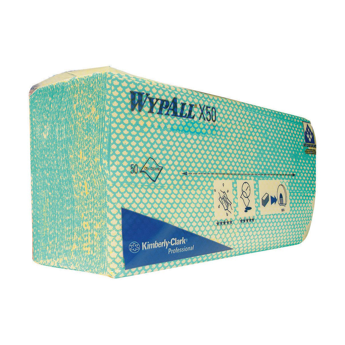 WYPALL X50 Microfibre Cleaning Cloths Green (50) 7442