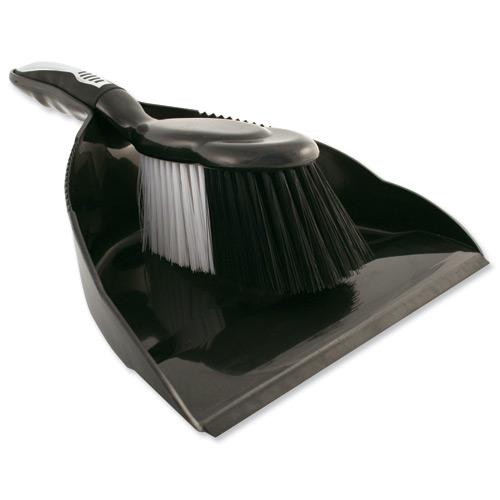 Charles Bentley Dustpan & Brush Set Black/Chrome HL8001/G