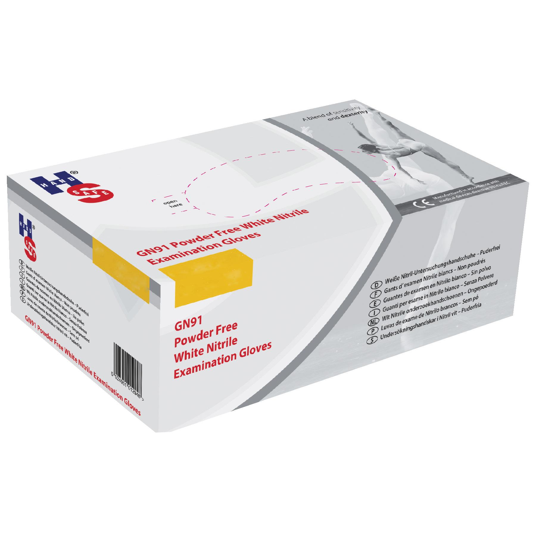 Handsafe Sensitive Large White Nitrile Gloves Pack of 200 Code GN91