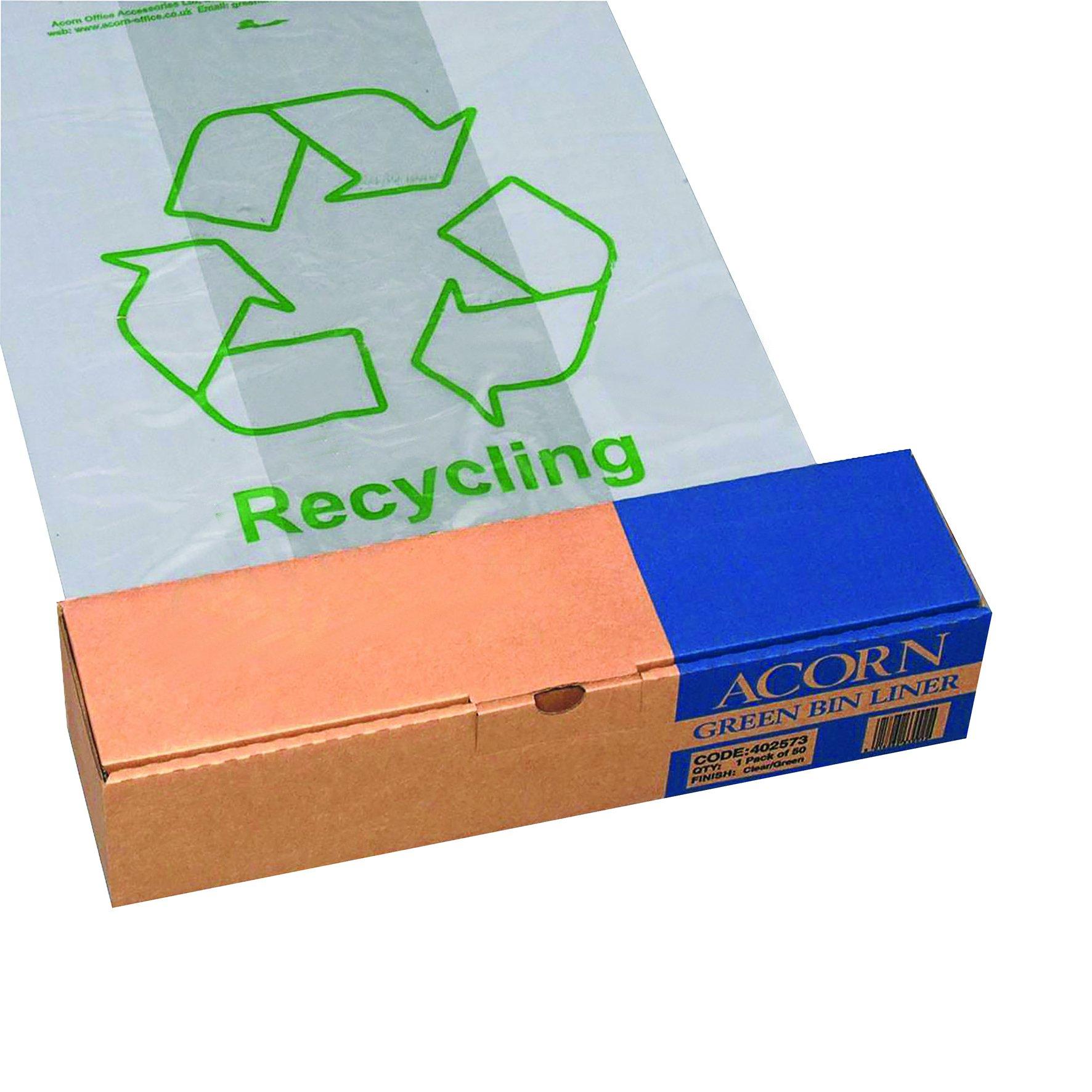 Green Recycling Bin Liners Clear (50) 402573