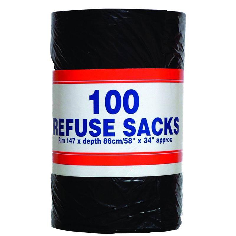 Value Bin Bag Roll 92 Litre 737x864x1474mm 25mic Black (100)