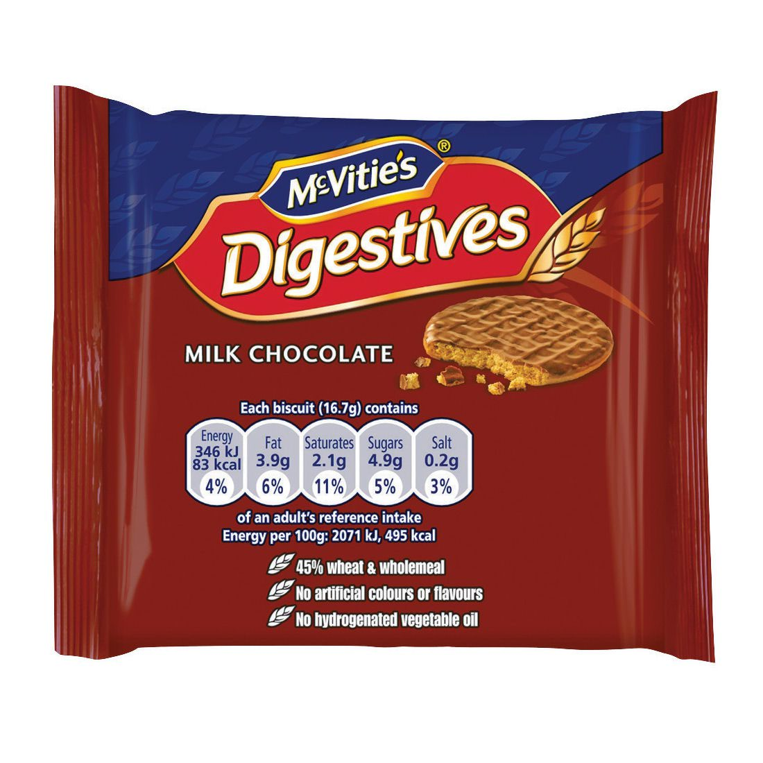 McVities Milk Chocolate Digestives Biscuits Twinpack Ref 0401066 [Pack 48]