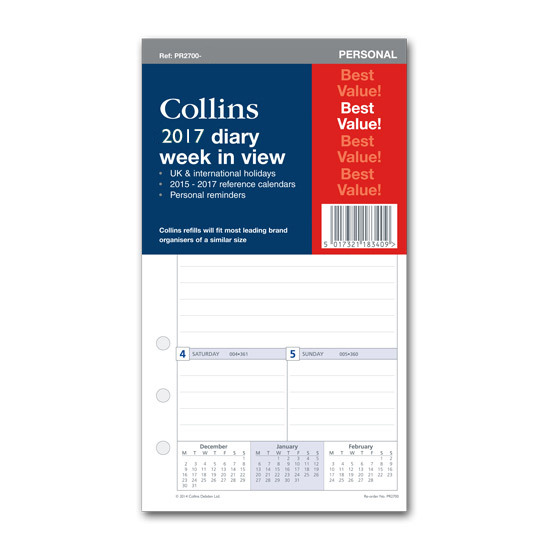 Collins 2017 Organiser Refill Week-To-View Personal PR2700-17