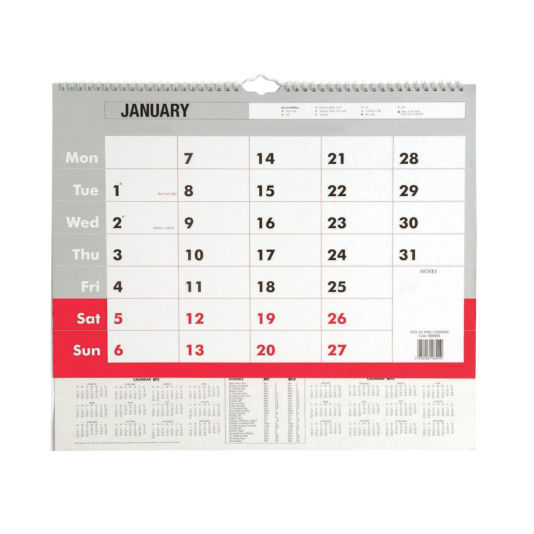 Selected 2017 Wall Calendar A3