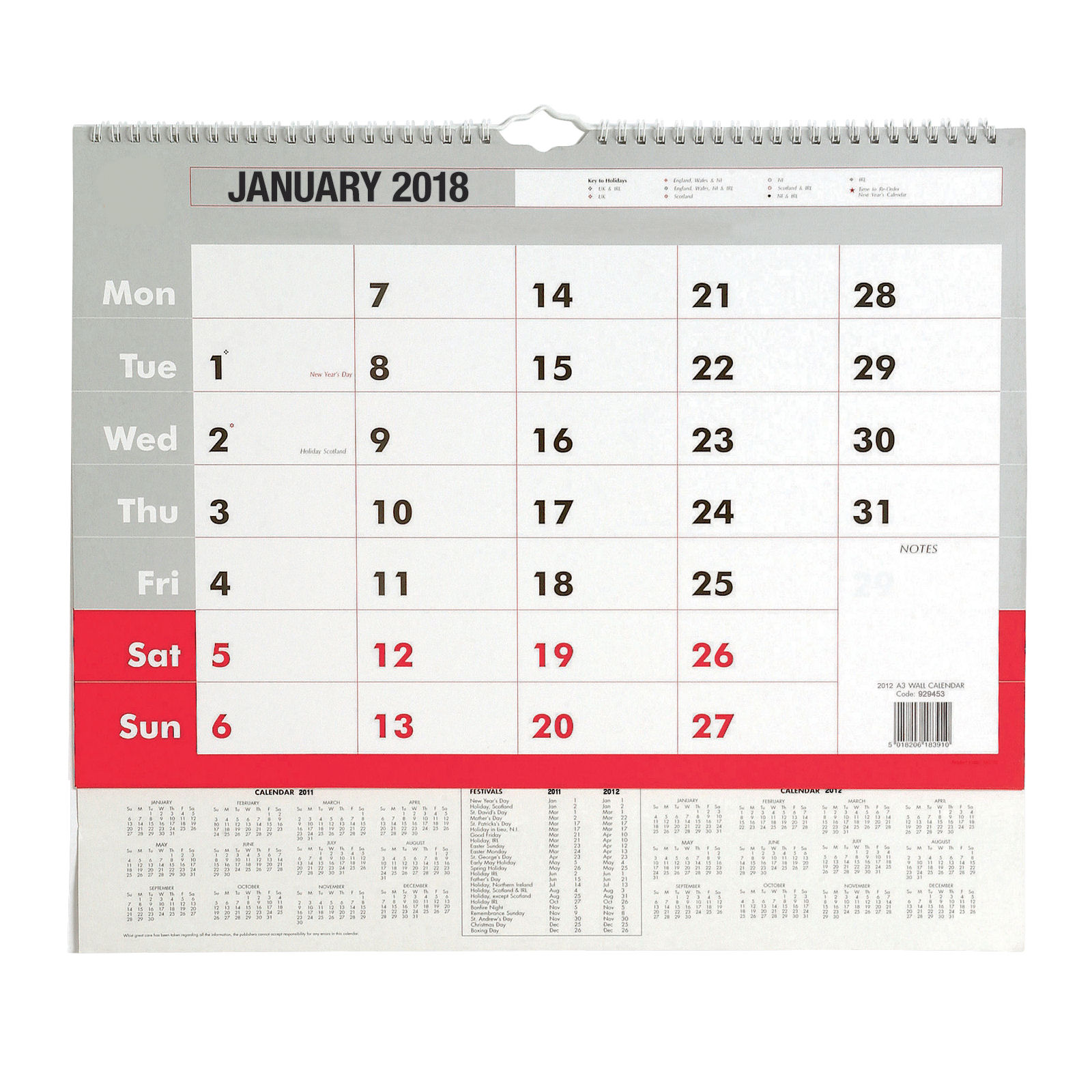 Value 2018 Wall Calendar A3