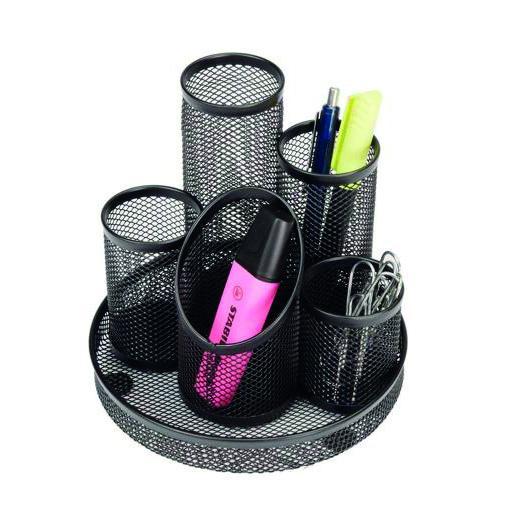 Value Wire Mesh 5 Tube Pen Pot Black