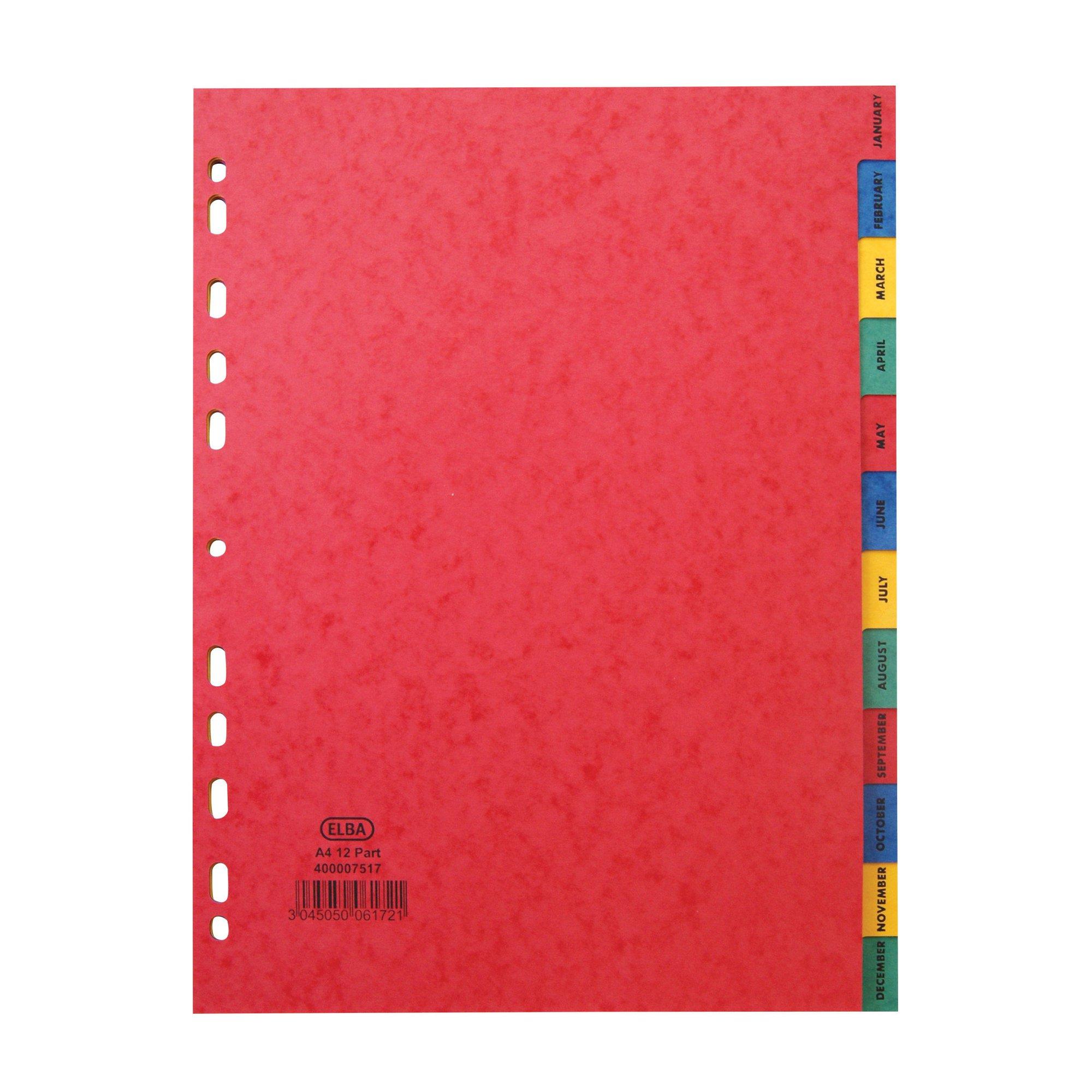Elba Pressboard Index A4 Jan-Dec Assorted Colour Tabs 400007517