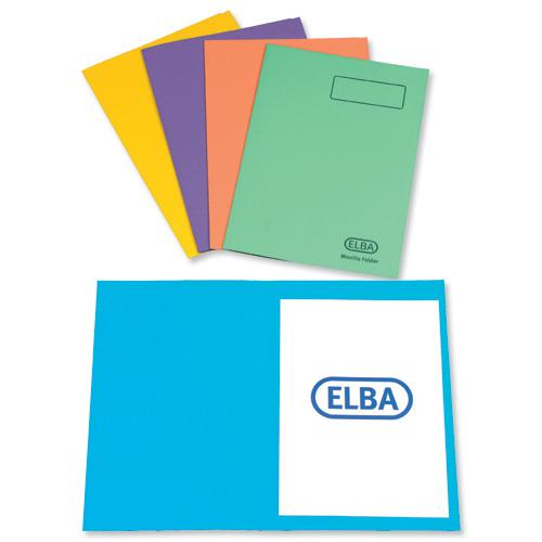Elba Square Cut Folders Foolscap Assorted Colours 290gsm (25) 26710