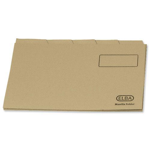 Elba Economy Tabbed Folders Foolscap Buff 170gsm 100090124