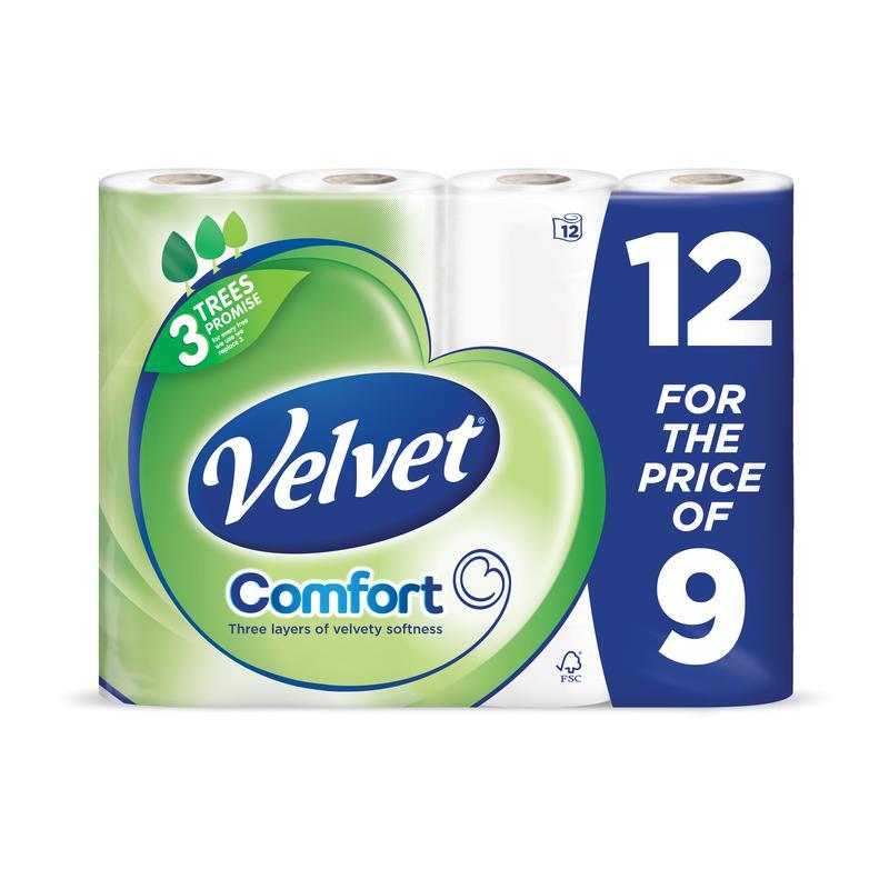 Velvet Toilet Tissue White (12)