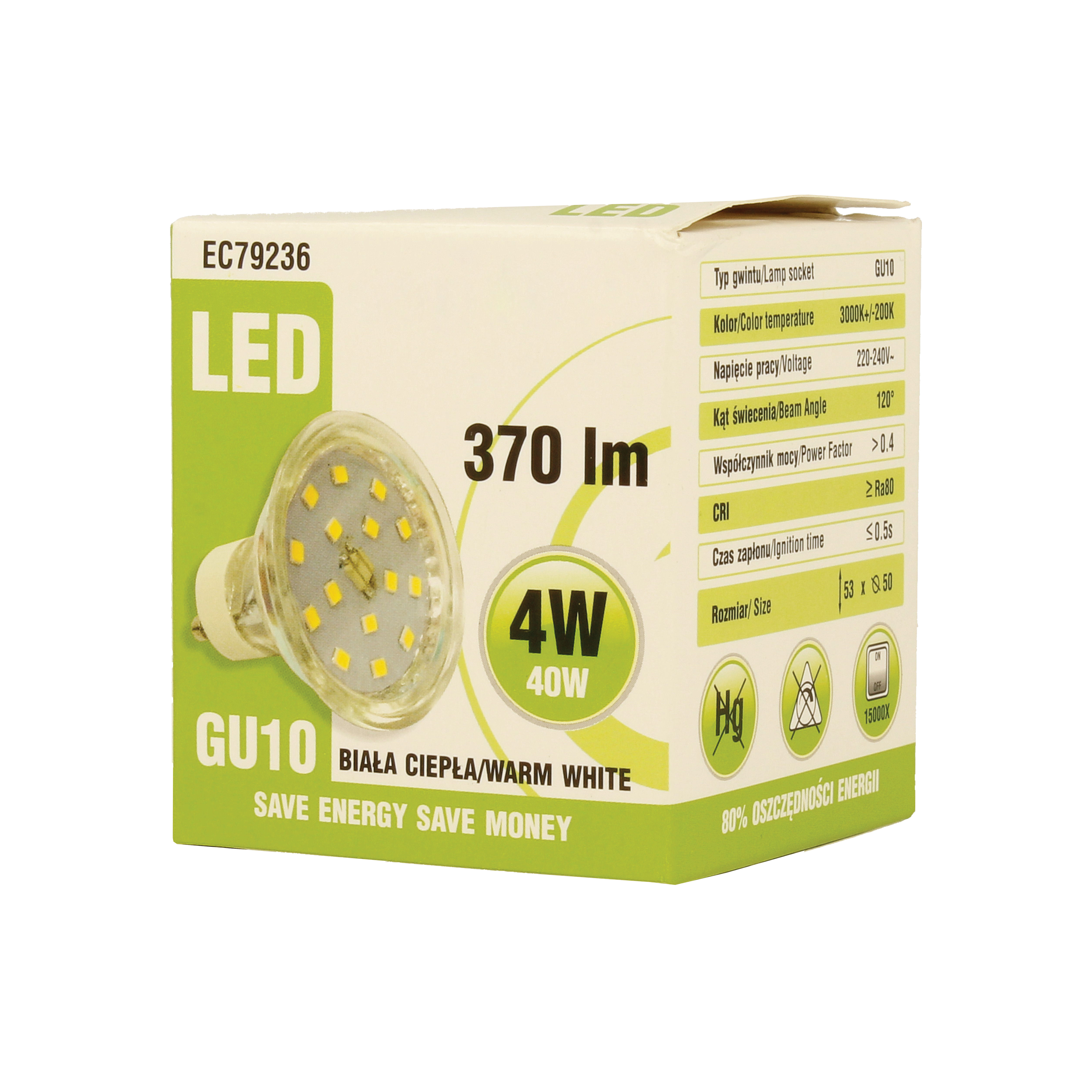 Ecolight LED GU10 Bulb 4W Warm White 370 Lumen EC79236