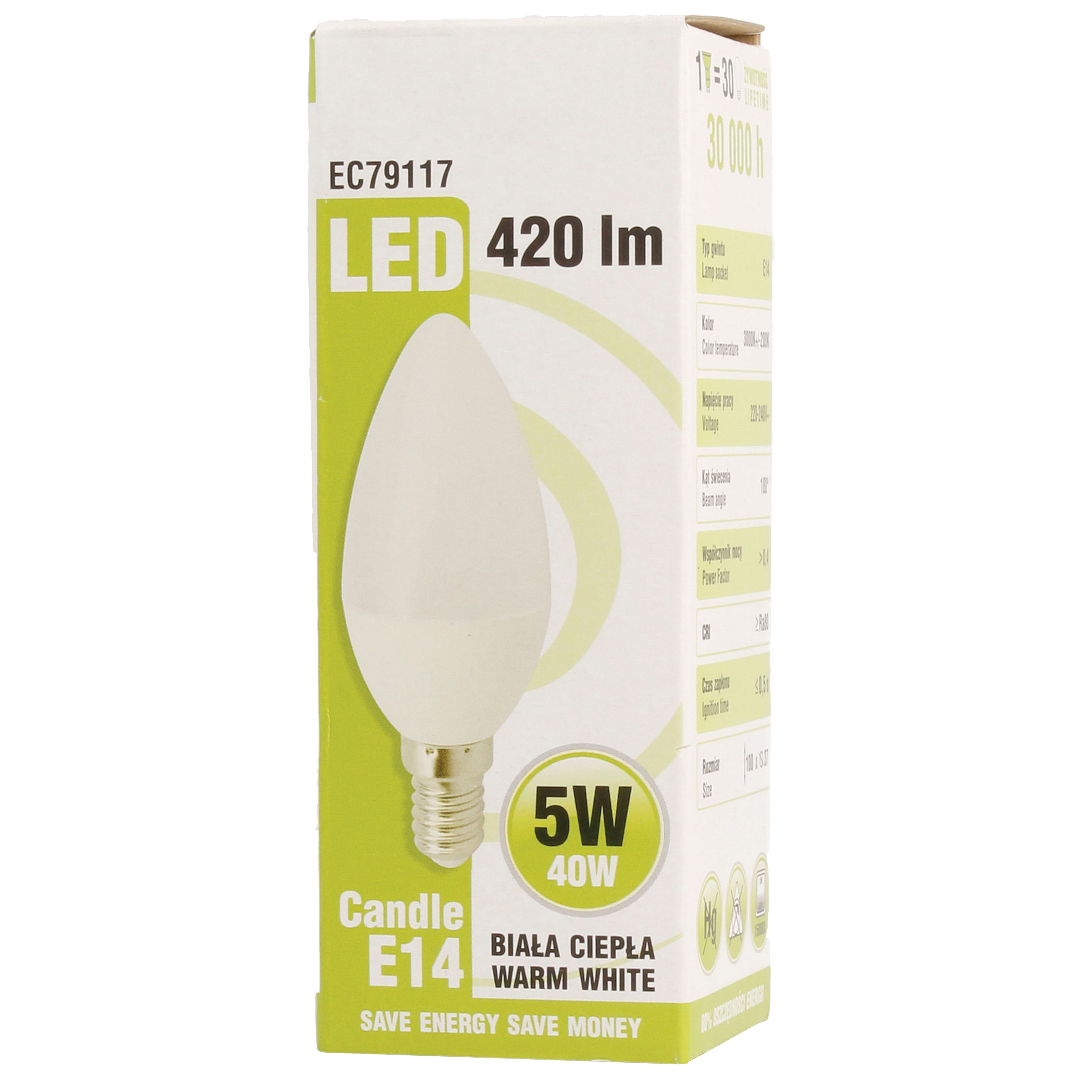 Ecolight LED Candle Bulb 5W E14 / SES Warm White 420 Lumen EC79117