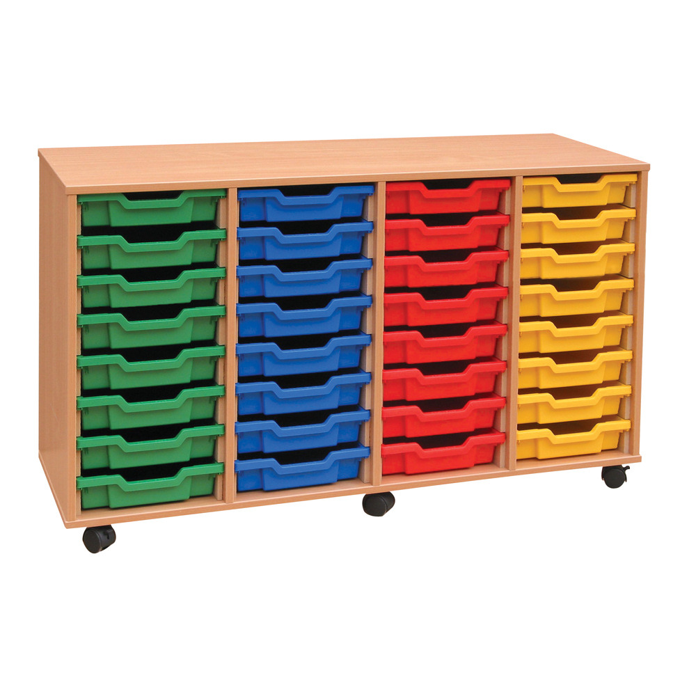 Image for Monarch 4-Column Mobile 32 Shallow Tray Storage Unit MEQ32W
