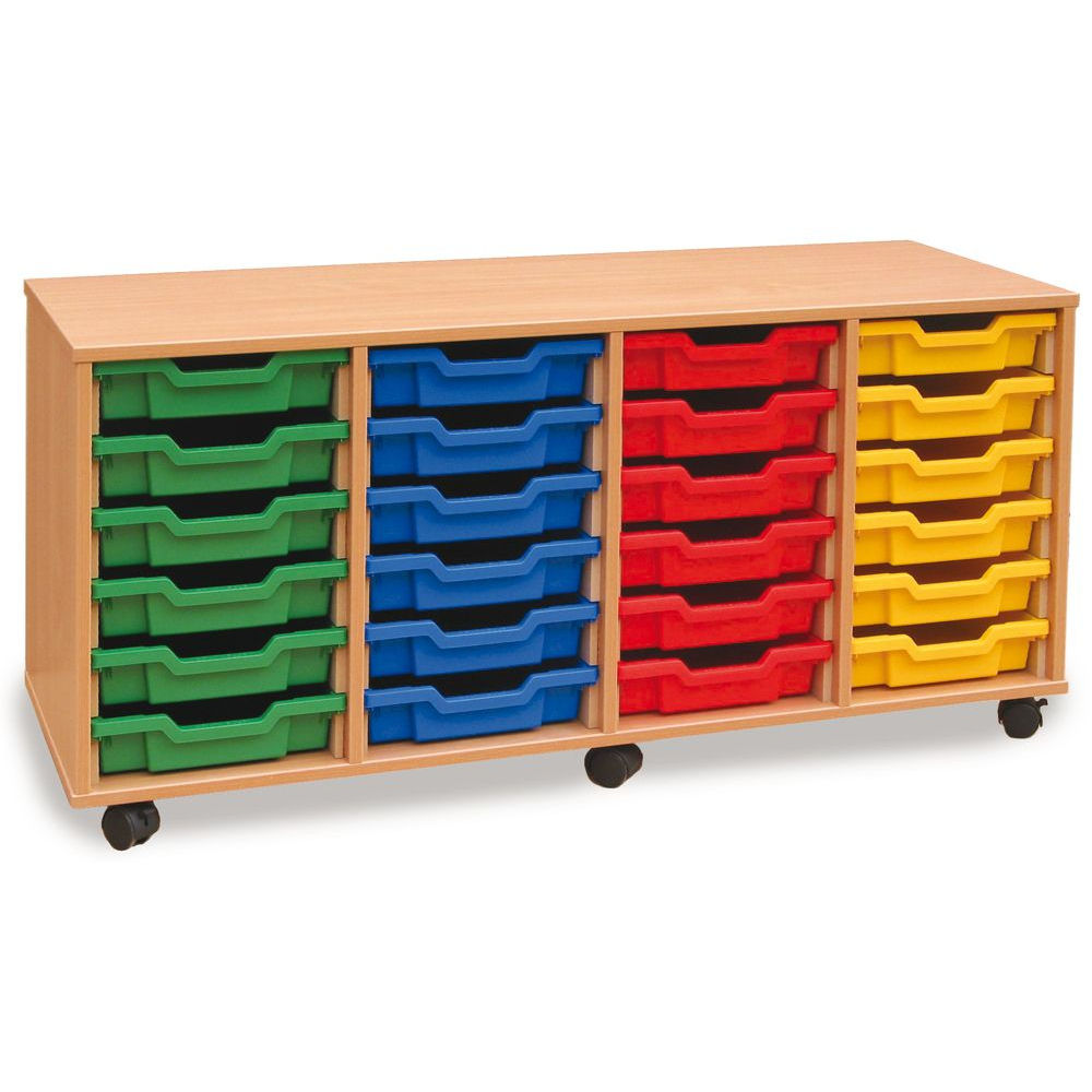 Image for Monarch 4-Column Mobile 24 Shallow Tray Storage Unit MEQ24W