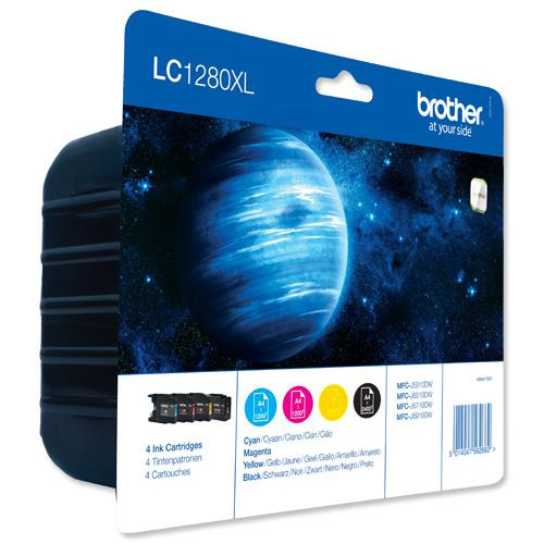 Brother Inkjet Cartridge Value Pack Page Life 6000pp Black/Cyan/Magenta/Yellow Ref LC1280XLVALBP [Pack 4]