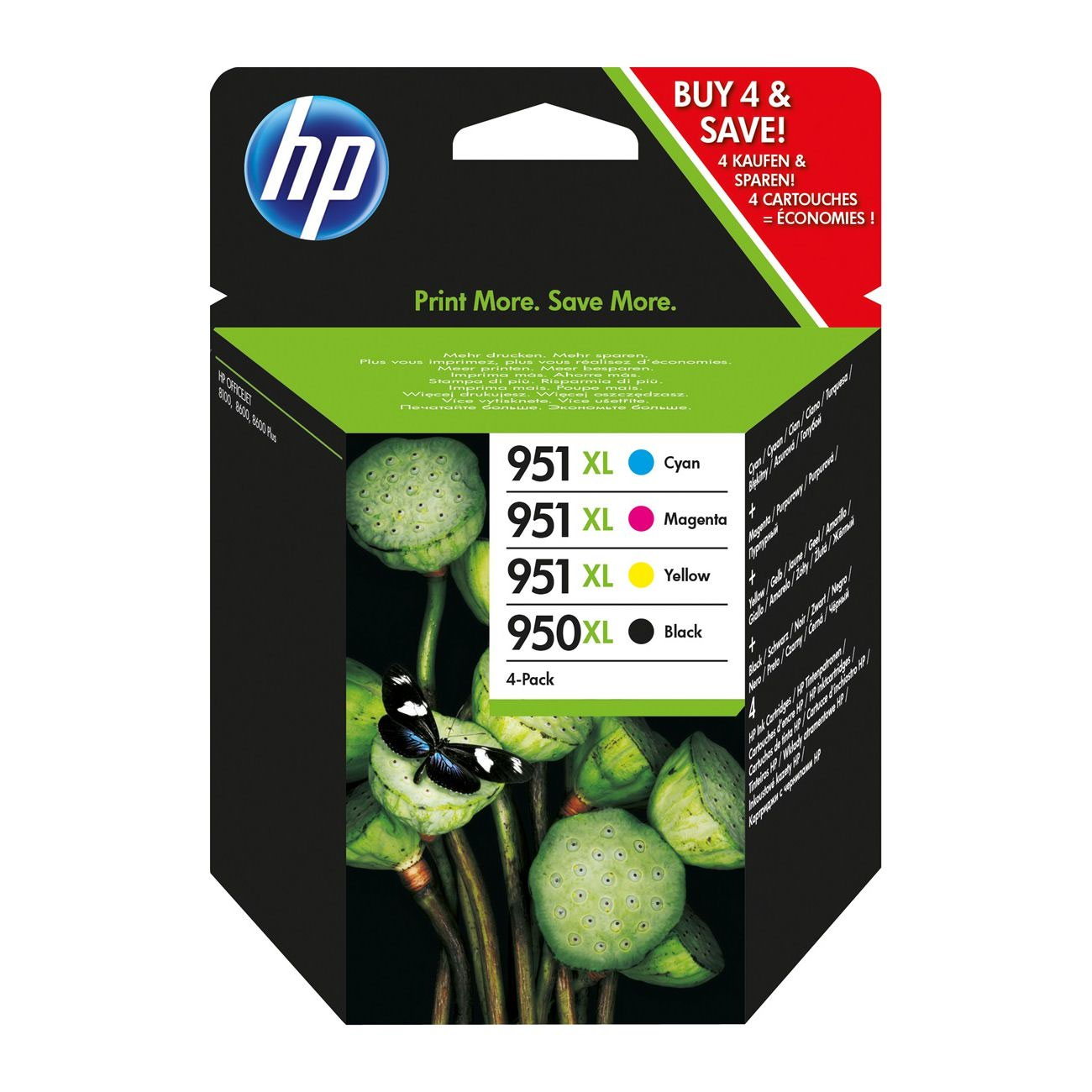 HP No.950XL Inkjet Cartridge High Capacity Black/Cyan/Magenta/Yellow Value Pack C2P43AE