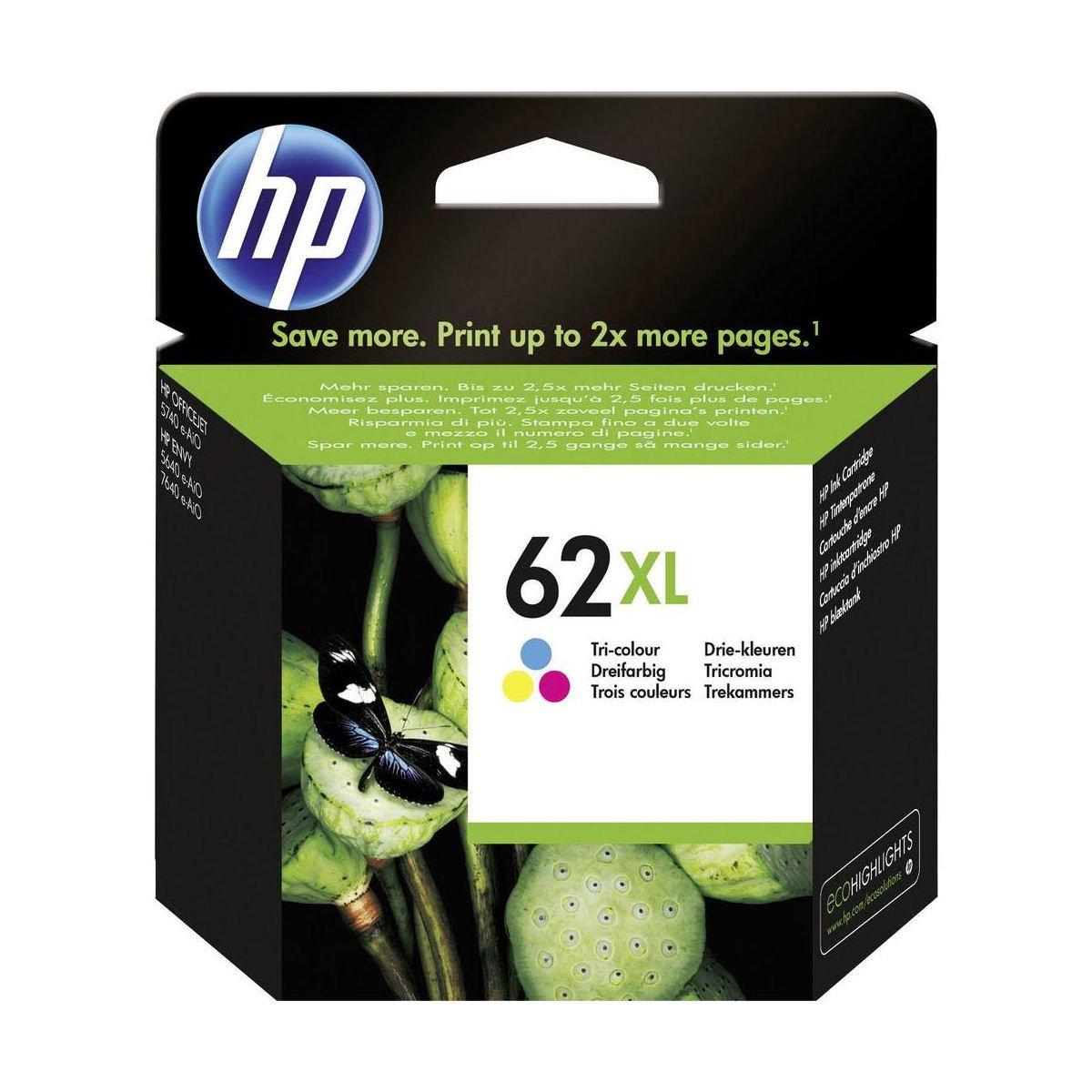 HP No.62XL Inkjet Cartridge High Capacity Tri-Colour C2P07AE