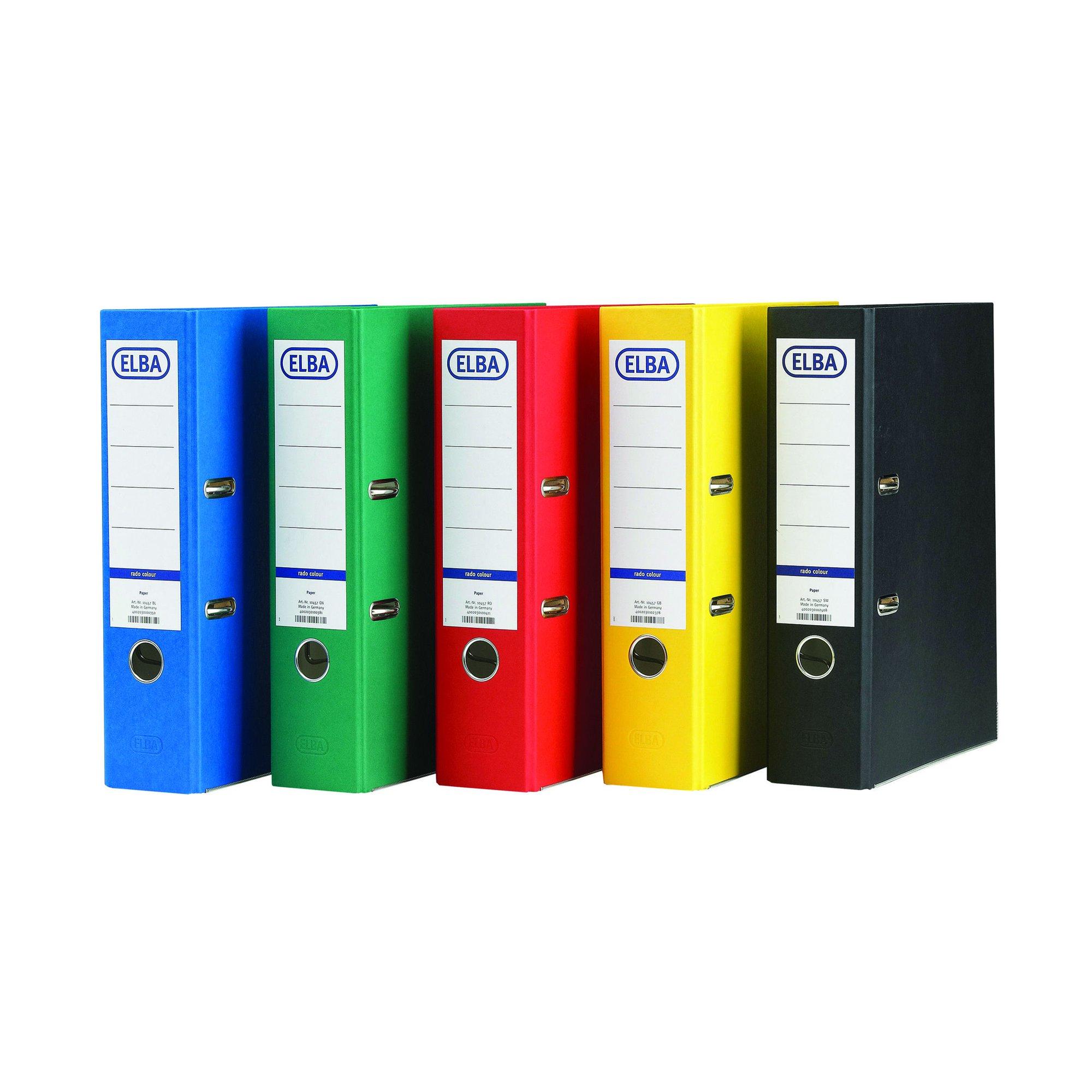 Elba Coloured Board Lever Arch File A4 Assorted (10) 100025220