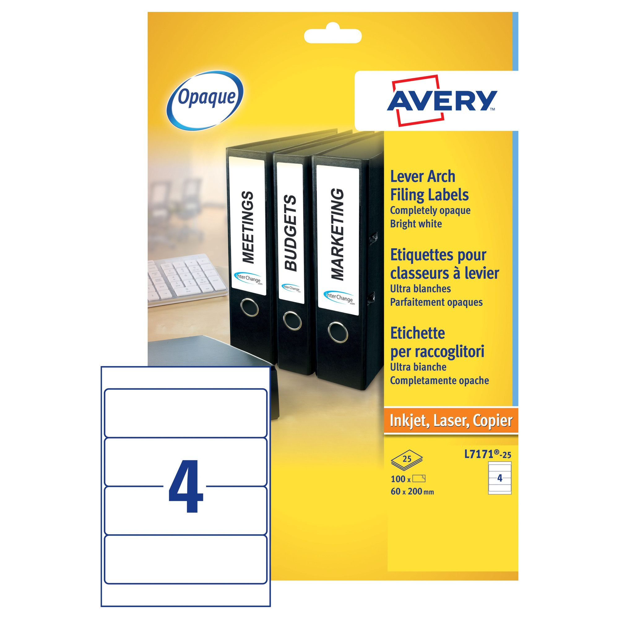 Avery Laser Lever Arch Labels 200x60mm White (25) L7171-25