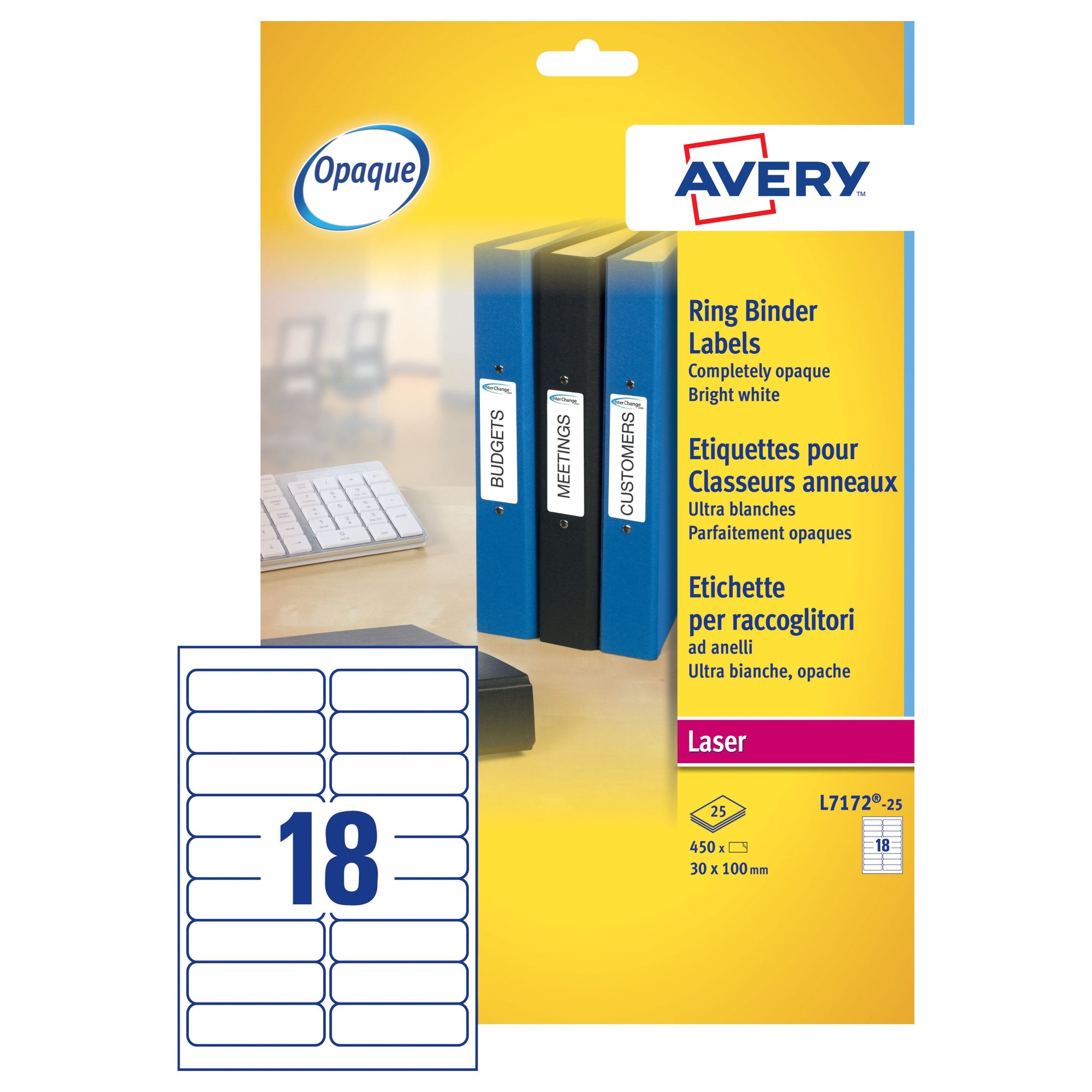Avery Laser Ring Binder Labels 100x30mm White (25) L7172-25
