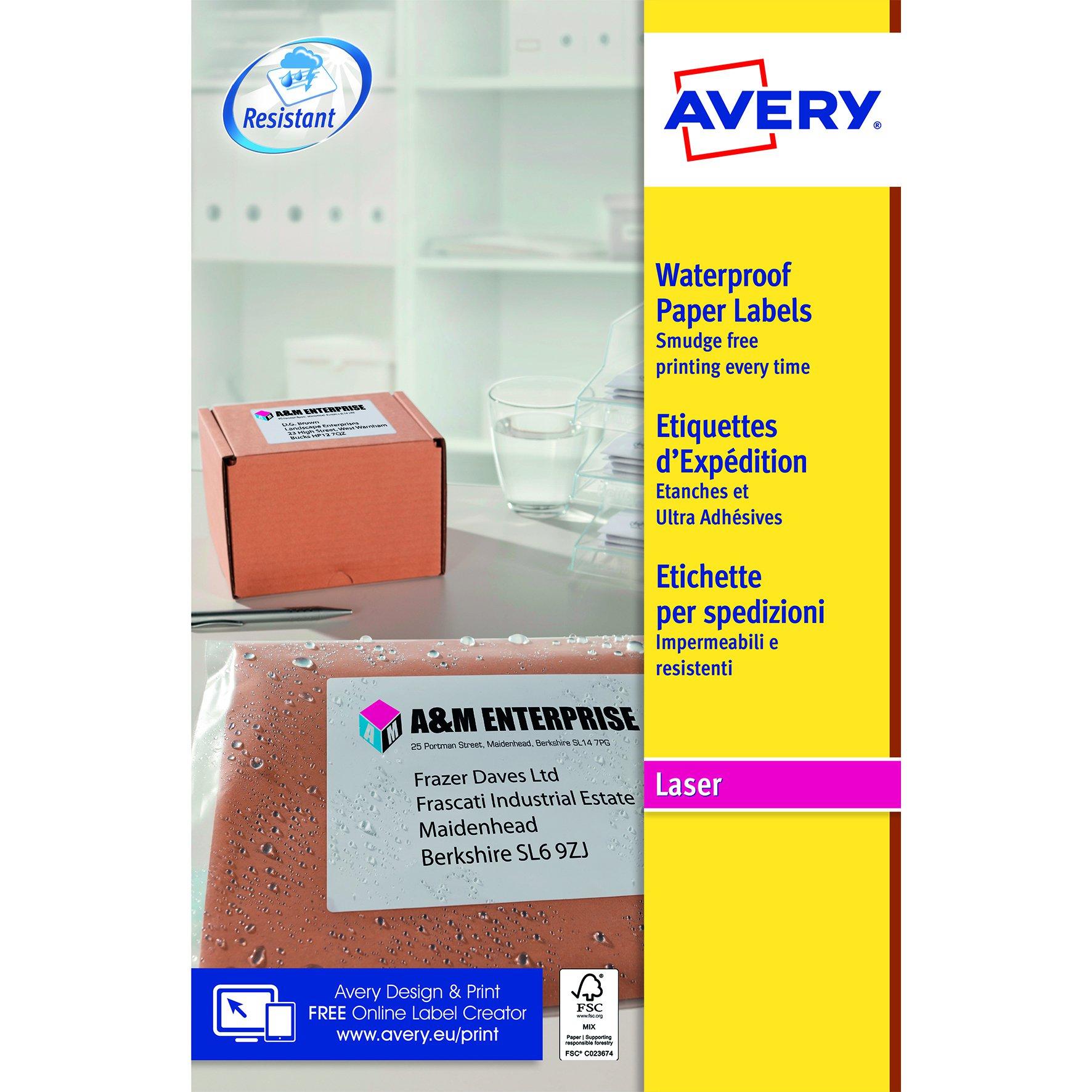 Avery Weatherproof Laser Labels 99.1x57.0mm White (25) L7992-25