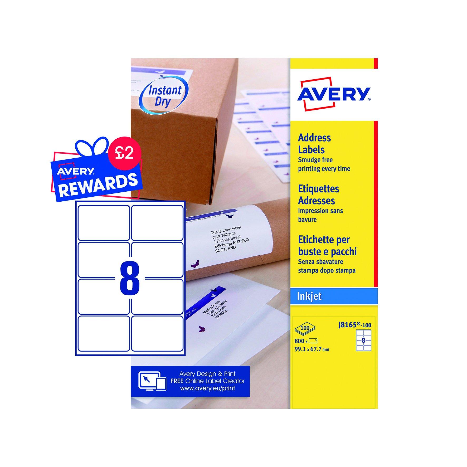 Avery QuickDRY Inkjet Labels 99.1x67.7mm White (100) J8165-100