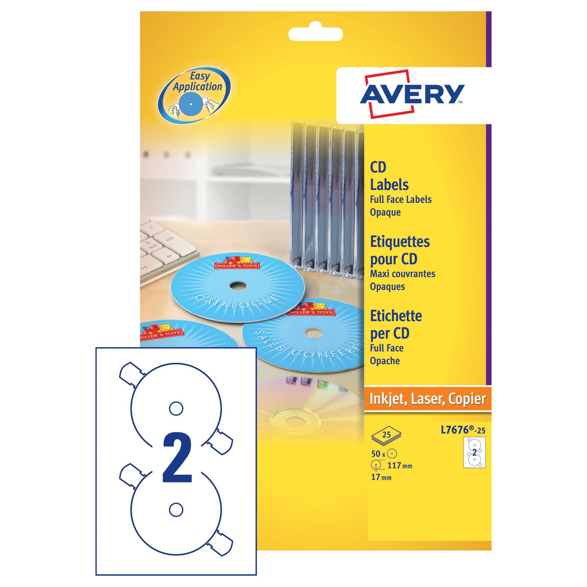 Avery Full Face CD/DVD Laser Labels (25) L7676-25
