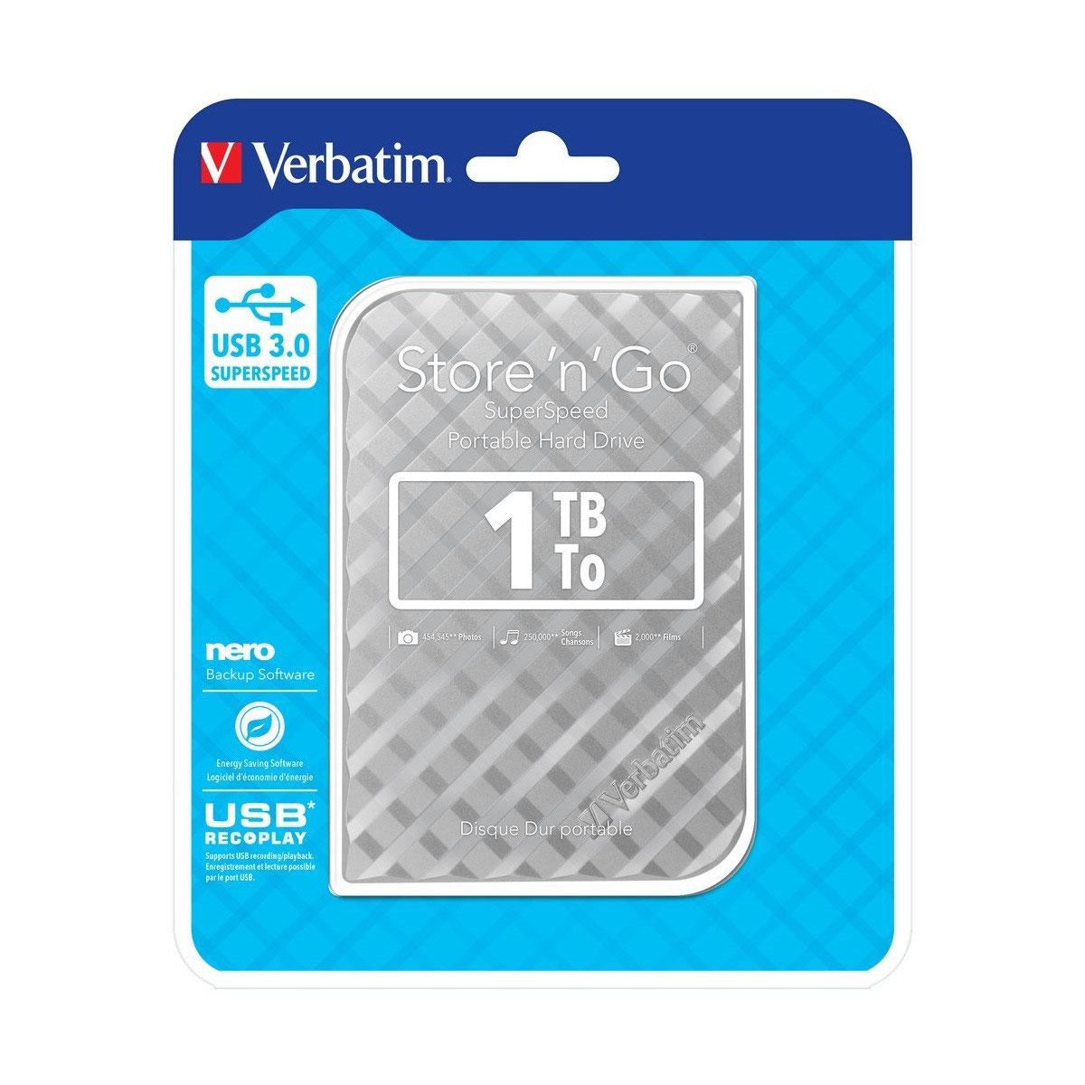 Verbatim Portable Hard Drive 1TB Silver Ref 53197