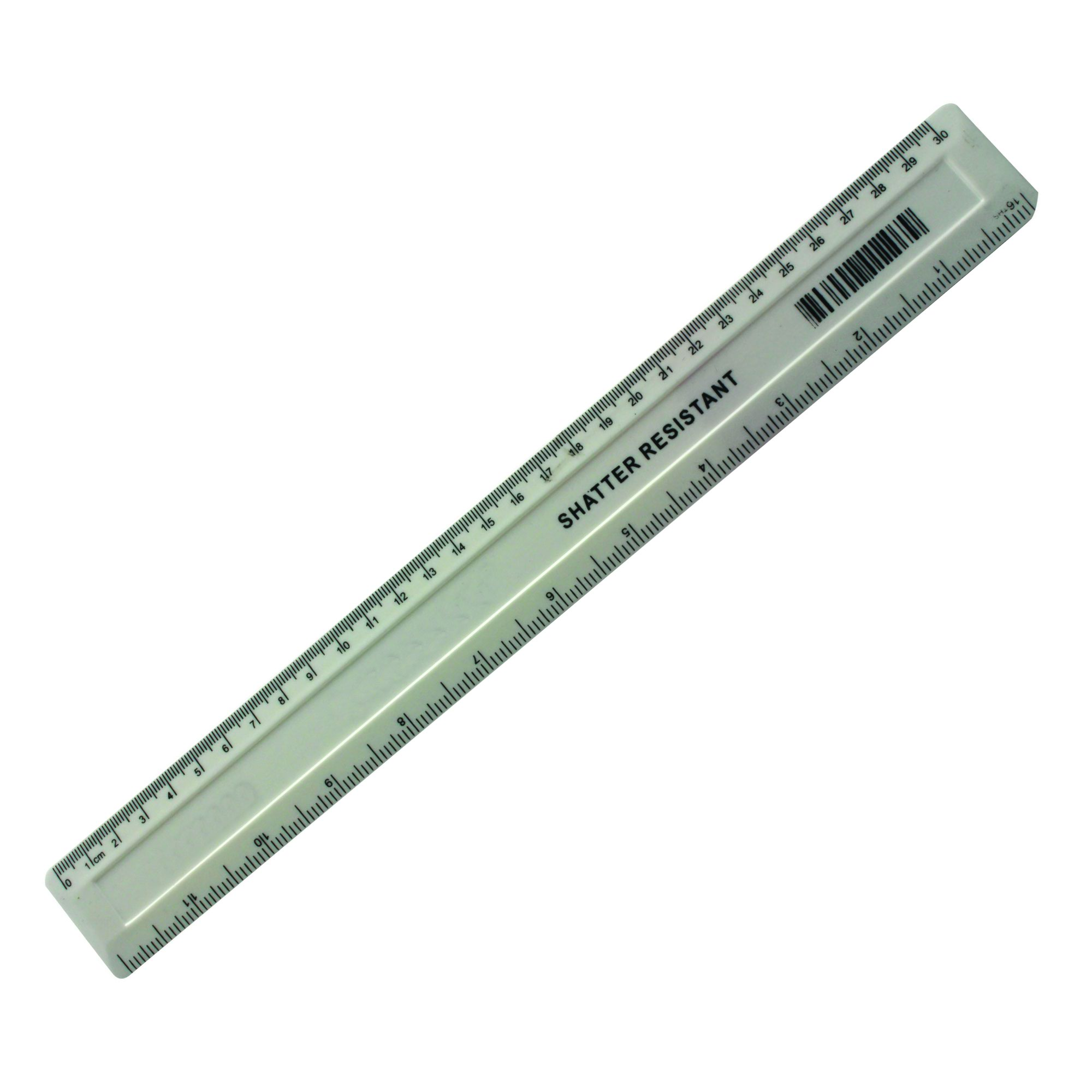 Value Plastic Shatter Resistant Ruler 300mm White