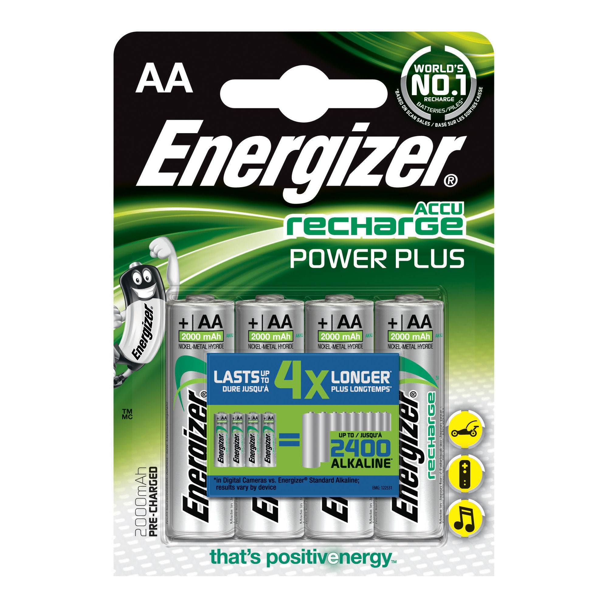 Energizer Rechargeable Battery AA 2000mAh (4) 635178