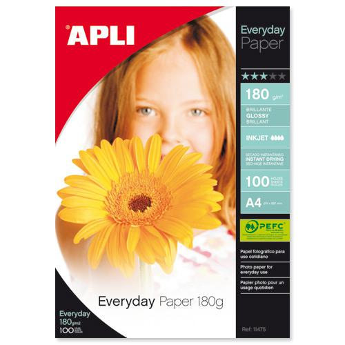 Apli Everyday Glossy Inkjet Photo Paper A4 180gsm (100) 11475