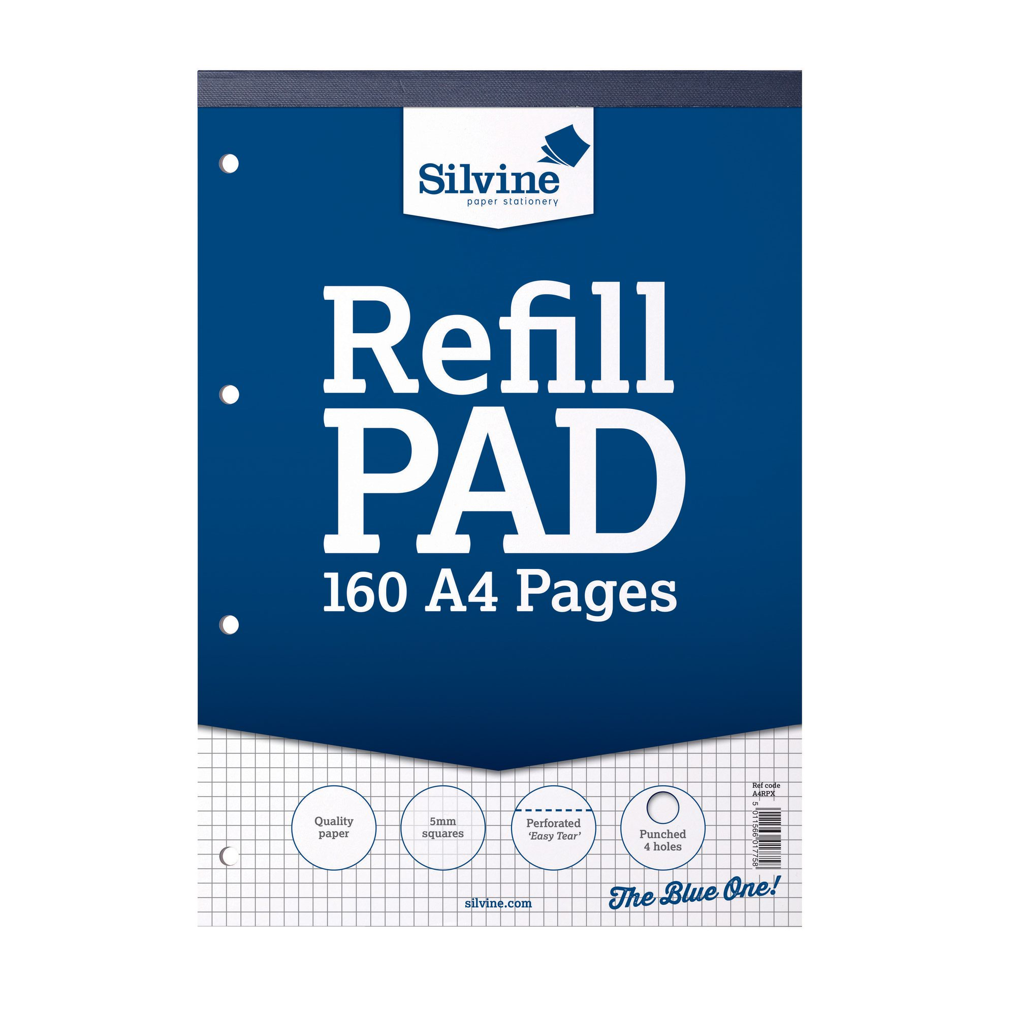Silvine Refill Pad A4 Graph 5mm 75gsm 160pages A4RPX
