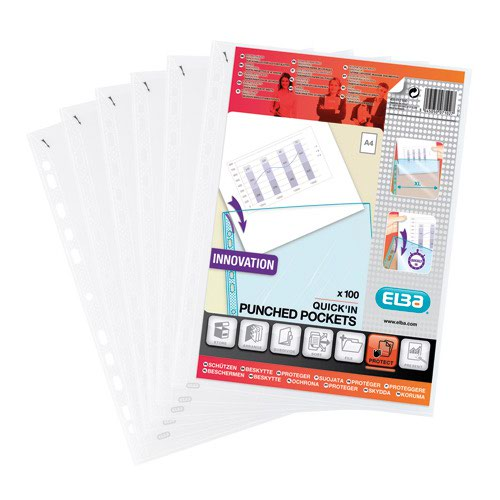 Elba QuickIn Punched Pockets A4 Clear (10) 400012939