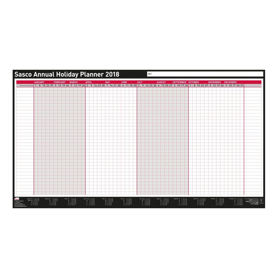 Sasco Annual Holiday Year Planner 2018 Unmounted 2401874