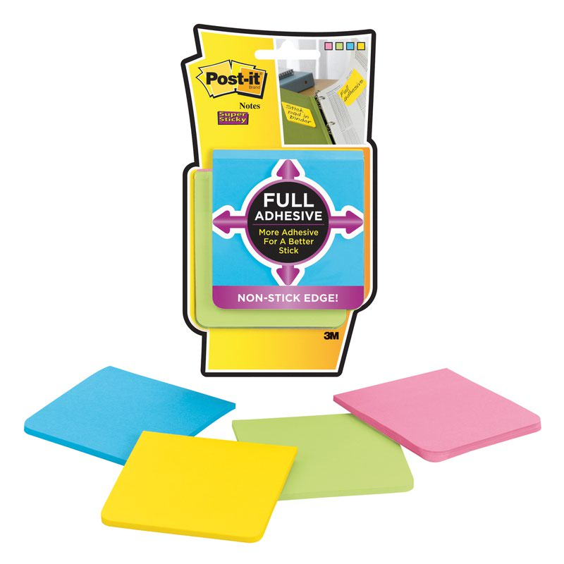 3M Post-it Super Sticky Full Adhesive Note 76x76mm Assorted (4) F330-4SSAU