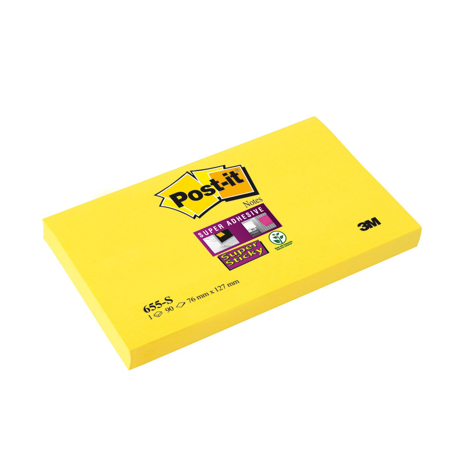 Image for 3M Post-it Super Sticky Note 76x127mm Ultra Yellow 655-S6