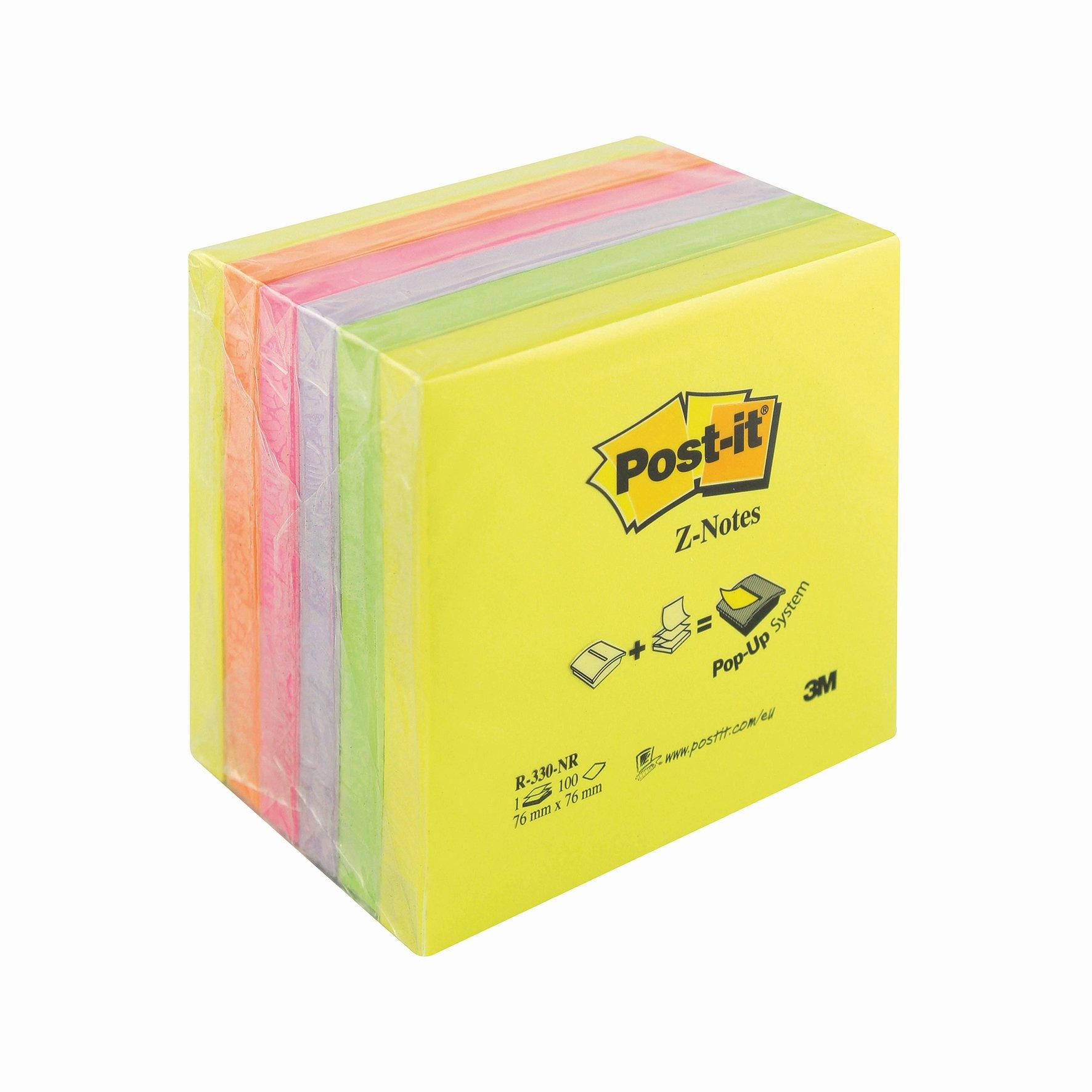 3M Post-it Z-Note 76x76mm Neon Rainbow (6) R330NR